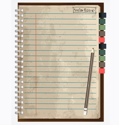 old paper notebook vector image vector image