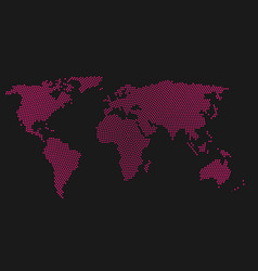 Pink halftone world map of small dots in radial vector