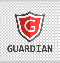 Red shield logo in flat style with word guardian vector