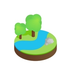 River in a summer forest isometric 3d icon vector