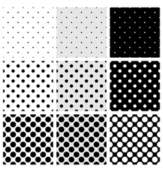 Seamless black and white dots pattern background vector