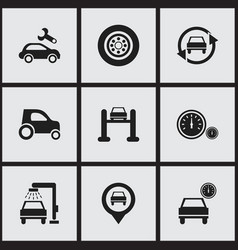 set of 9 editable vehicle icons includes symbols vector image vector image