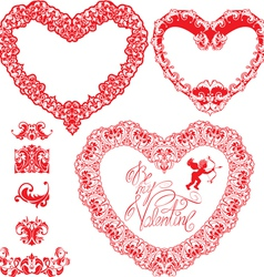 Set of vintage ornamental hearts shapes with calli vector image vector image