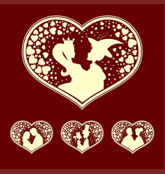 Silhouettes of the prince and princess young vector