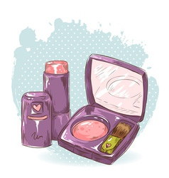 Skincare make-up blusher and lipstick card vector