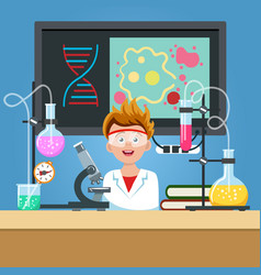 student in chemistry classroom vector image