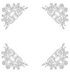 Vintage baroque frame engraving scroll ornament vector