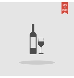 Wine bottle and glass silhouette vector image vector image