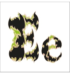 Fiery font black and green letter e on white vector