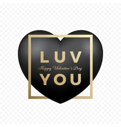 Love you black premium heart on transparent vector