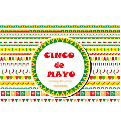 cinco de mayo celebration set of borders vector image