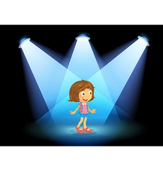 A girl smiling at the center of the stage vector
