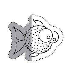 Sticker silhouette blowfish aquatic animal icon vector
