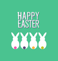Happy easter funny rabbit greeting card design vector