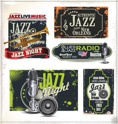Jazz music labels set vector