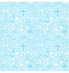 Line house white seamless pattern vector