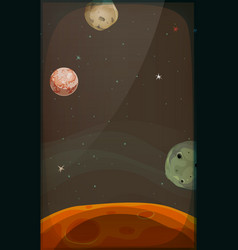 Space background with planets and stars for mobile vector