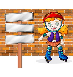 A girl rollerskating beside the empty signages vector