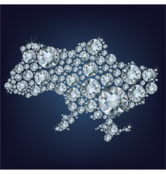 Map of ukraine made from diamonds vector