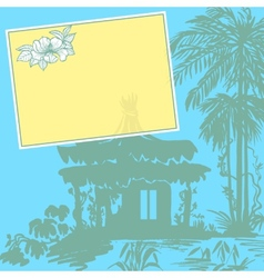 Bungalow and palms vector