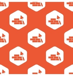 Orange hexagon building wall pattern vector