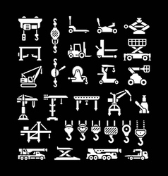 Set icons of lifting equipments vector