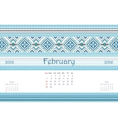 2016 calendar with ethnic round ornament pattern vector