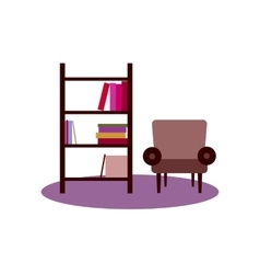 Bookshelf armchair interior flat vector