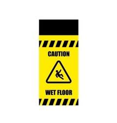 Yellow wet floor sign flat icon vector