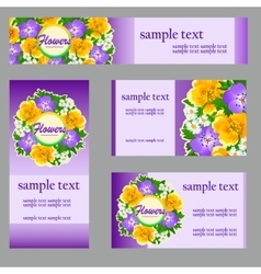 Set of cards with a picture of wild flowers vector