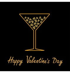 Happy valentines day love card martini glass with vector