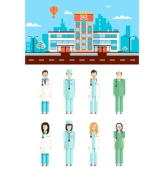 Hospital with doctors vector