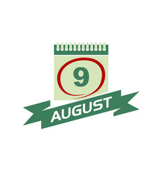 9 august calendar with ribbon vector