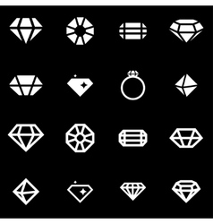 White diamond icon set vector