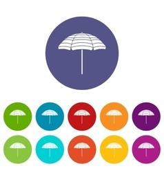 Beach umbrella set icons vector image