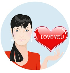 beautiful girl with heart vector image