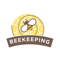 Beekeeping logo design with abstract bee on vector