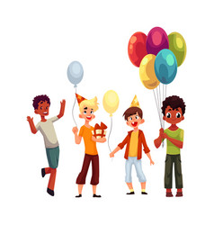 black and caucasian boys kids with balloons vector image vector image