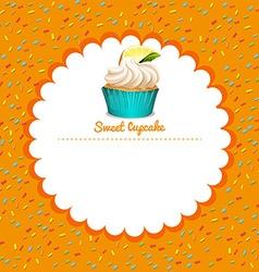 Border design with lemon cupcake vector image