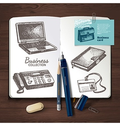 Business identity set on wooden background vector image