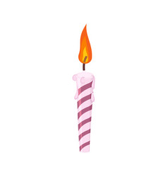 Candle birthday cake festive red candle isolated vector