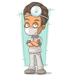Cartoon doctor with white mask vector