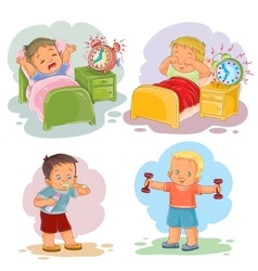 Clip art of little children wake up vector image vector image