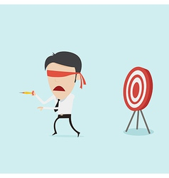 Confused blindfold businessman try to hit a target vector