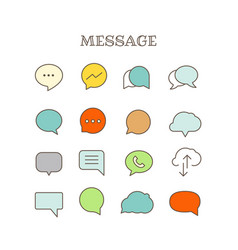 different speech bubbles thin line color icons set vector image vector image