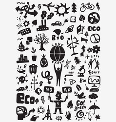 ecology doodle set vector image vector image
