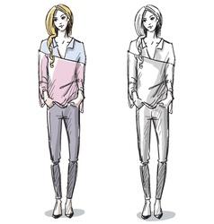 Fashion hand drawn vector image vector image