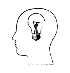 Figure man with bulb in the brain icon vector