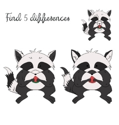 Find differences kids layout for game raccoon vector image
