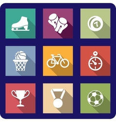 Flat sporting icons set vector